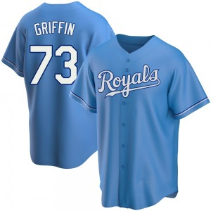 Youth Foster Griffin Kansas City Royals Replica Light Blue Alternate Jersey