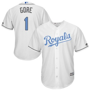 Men's Terrance Gore Kansas City Royals Replica White Cool Base Father's Day Jersey by Majestic